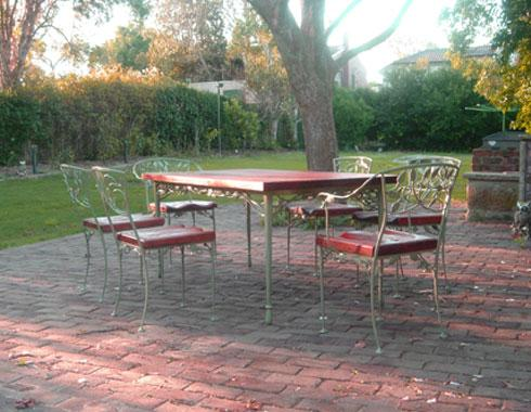 Outdoor wood and iron dining setting - Tables and Chairs - Wrought Artworks - Iron work Australia